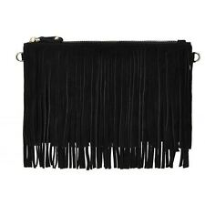 Mighty Purse Fringe X-Body Bag Black Suede Leather With Cell Phone Charger
