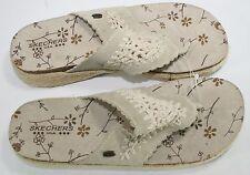 SKETCHERS Thong Flip Flops Sandals Crochet Size 11 cream Jute Cork