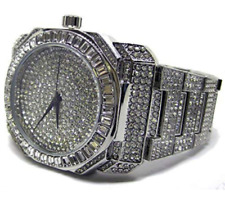 Baguette Dial Faux Diamond Silver Plated Metal Strap HipHop Bling Watch