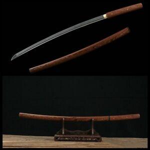 Full Tang Samurai Japanese Shirasaya Katana Sword Folded Damascus Steel Sharp