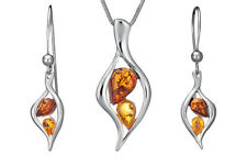 925 Sterling Silver Set Pendant Dangle Drop Earrings Baltic Amber Jewellery