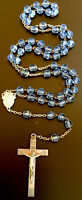 Vintage Catholic Light  Blue Glass 5 Decade Rosary Silver Tone Crucifix