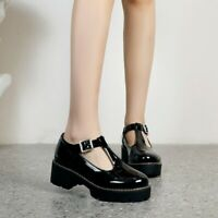 Ladies T-Strap Block Heels Buckle Women Round Toe Pumps Retro Flats Casual Shoes