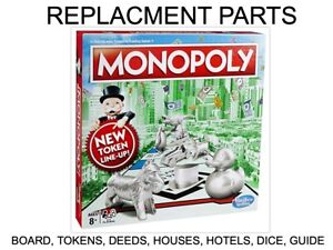 Monopoly Spare Replacement Pieces Parts - Spare Tokens Hotels Houses Deeds Dice