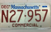 VINTAGE MASSACHUSETTS COMMERCIAL LICENSE PLATE - N27 957 RED WHITE BLUE