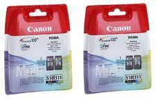 2 X BLACK + 2 X COLOUR PG-510 CL-511 PIXMA MX320 MX330 Original Ink Cartridges
