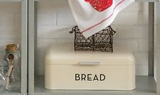 Bread Box Retro White Vintage Tin Kitchen Storage Bin Metal Lid Shelf Counter