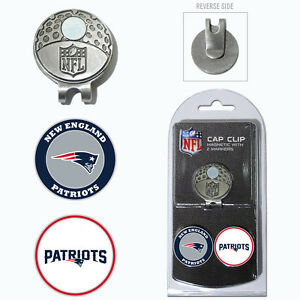 New Egland Patriots NFL Team Golf Cap Clip with 2 Magnetic Enamel Ball Markers
