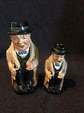 "Royal Doulton Winston Churchill Toby Mug Jugs 3 3/4"" and 5 1/2"" Made In England"