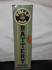 Antique style-porcelain look Polly gas oil gas dealer pump sign battery sales