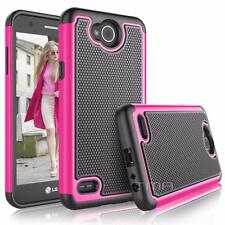 LG X Power 2 Rugged Rubber Dual Layer Impact Shockproof Hybrid Case - Hot Pink
