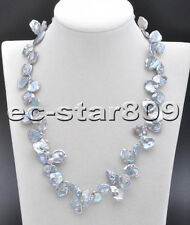 "P5732 18"" 16mm Gray Lamina-Barqoue KESHI REBORN Pearl Necklace"