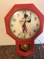 Vintage Mickey Mouse PENDULUM Wall CLOCK Welby ELGIN, Red, Disney