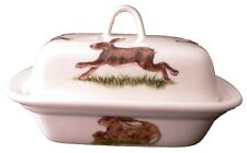 Hares,  porcelain traditional deep white butter dish