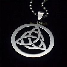 Stainless Steel Trinity Round Pendant Necklace