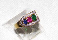 18Kt Gold  Ruby Blue Sapphire  Emerald 39 Diamond Trilogy Ring   6.2Gr