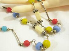 Antique Glass Beads Necklace Strand Multi Color n Shape Silver Tone Vintage