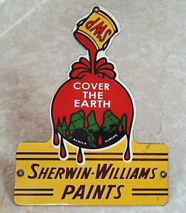 VINTAGE SHERWIN WILLIAMS PAINTS COVER THE EARTH PORCELAIN METAL DEALER SIGN MINT