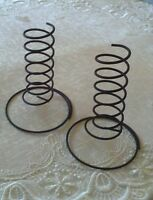 TWO BLACK Wire Spiral Taper Candle Holders, Primitive, Farmhouse Country Rustic