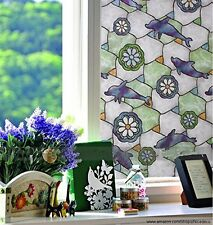 "Fancy-fix Self Adhesive Dolphin Stained Glass Window Film  (34.4"" x 39.37"") G003"