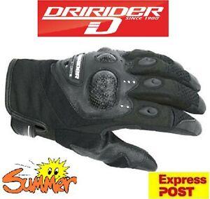 DRIRIDER Air Carbon Motorcycle Gloves NEW! Short cuff Summer Road Dry Rider