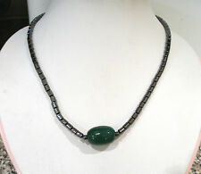 """HEMATITE WITH GREEN ONYX FEATURE BEAD BEADED NECKLACE MAGNETIC CLASP 18"""" LONG"""