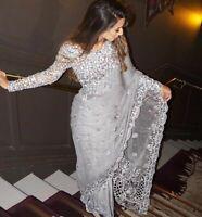 Indian Saree Butterfly Mono net Sari Blouse with Inner Sari Grey color work