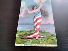 New listing 1909 patriotic Miss liberty wrapped in u.s. flag Postcard