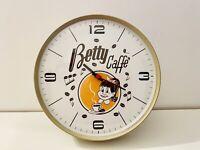 🔴 raro orologio pubblicitario in metallo Betty Caffè Orig Anni 60 70 Vintage