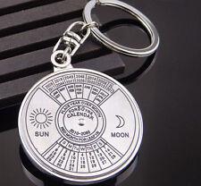 Mini Unique Metal Alloy Keychain Ring 50 Years Perpetual Calendar Keyring Keyfob