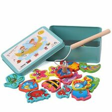 Fishing Toys Fun Magnetic Puzzle Game Children Baby Wooden Playset with Tin Box