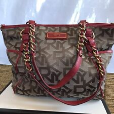 DKNY RED BROWN MONOGRAMMED CHAIN LINK TOTE BAG AUTHENTIC
