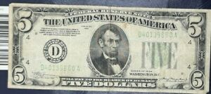 1934 $5 FEDERAL RESERVE NOTE GREEN SEAL