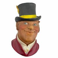Vintage Bosson's England Chalkware Ring Master Top Hat Ascot Wall Plaque