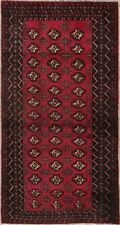 Vintage Geometric Balouch Afghan Area Rug Wool Hand-Knotted 3x6 Oriental Carpet
