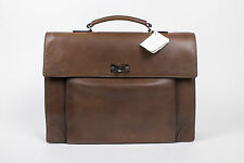 New. BRUNELLO CUCINELLI Brown Leather Business Briefcase Bag
