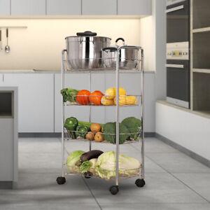Fruit Vegetable Food Rack 4 Tier Storage Trolley Mesh Basket Holder Rolling Cart