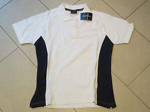 SALE:neues Polo-Shirt in weiß mit dunkelblauen Streifen in Größe 36 von New Wave