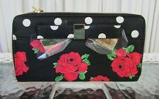 Betsey Johnson Zip Around Wallet Black Red Roses Metal Bow BB16490