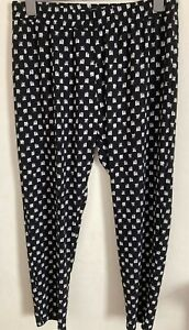 Peacocks Size 18 Black Elasticated Waist Patterned Trousers -(B174)
