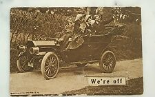 "Antique Posted 1912 ""We're off"" Couples In an Tin Lizzy Early Car No Windshield!"