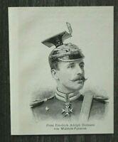 HO4) Holzschnitt 1885-1900 Prinz Friedrich Adolph Hermann v Waldeck Pyrmont Adel