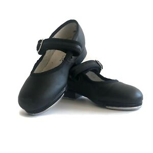 Girls 8 Capezio Tap Shoes Matte Black Leather Silver Buckle Hook Loop Closure