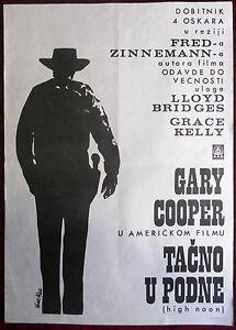 1952 Original Movie Poster High Noon Fred Zinnemann Gary Cooper Grace Kelly
