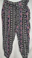 Crossroads 3/4 crop capri gathered cuff soft pants elastic waist pockets belt 18