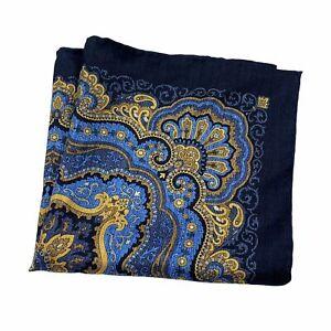 Bloomingdales Mens 100% Silk Paisley Handkerchief Pocket Square Blue Gold