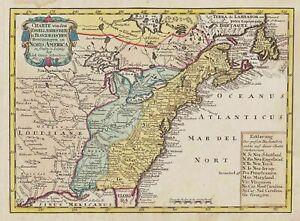 North America New York Virginia United States map Karte Schreiber 1750