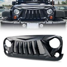 Xprite Matte Black Front Stock Grille w/ Mesh for 2007-2018 Jeep Wrangler JK JKU