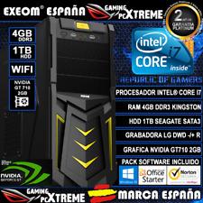 Ordenador Sobremesa Intel i7 4GB DDR3 1TB WIFI GT710 2GB Windows + Office Gaming