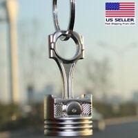 Piston Keychain Connecting Rod Car Engine Silver Metal 3D Keyring Key Chain Big